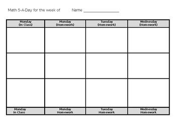 Math 5 a Day Template