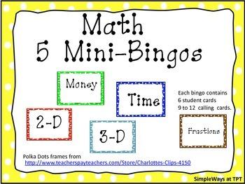 Math 5 mini Bingos