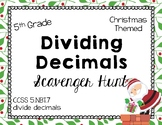 Math - 5th Grade Christmas Dividing Decimals Scavenger Hunt