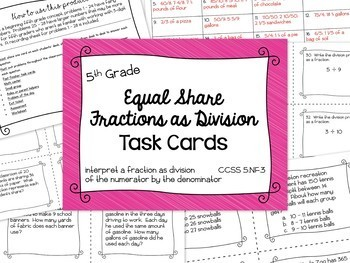 Math - 5th Grade Fractions as Division (Equal Share) Bundle