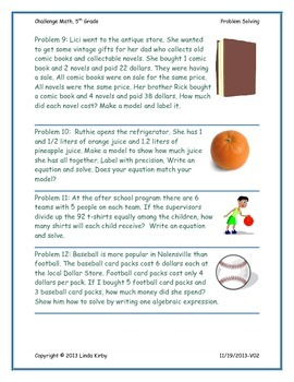 Math-5th Grade-Months 1-10: Challenge Problem Solving (Questions 1-200)