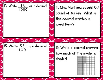 Math - 5th Grade Place Value Task Cards CCSS