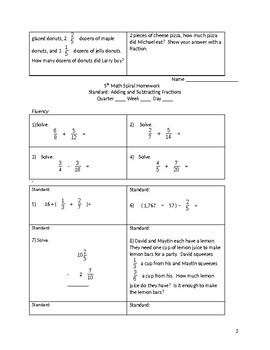 Math 5th Grade Spiral Review: Adding and Subtracting Fractions