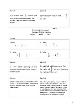 Math 5th Grade Spiral Review: Dividing Fractions