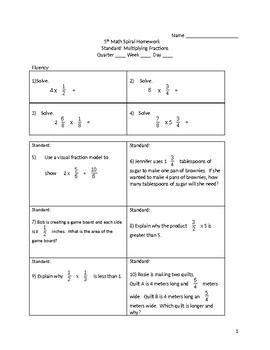 Math 5th Grade Spiral Review: Multiplying Fractions