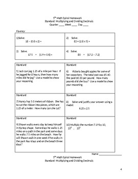 Math 5th Grade Spiral Review: Multiplying and Dividing Decimals