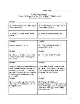 Math 5th Grade Spiral Review: Understanding Place Value