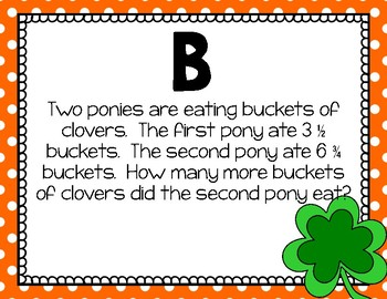 Math - 5th Grade St. Patrick's Day Adding & Subtracting Fractions Scavenger Hunt