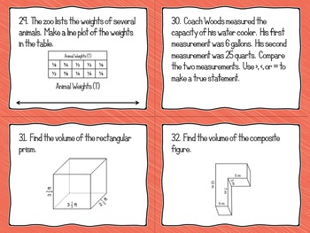 Math - 5th grade End of Year Math Review Task Cards