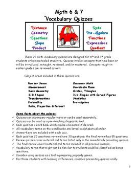 Math 6 & 7 Vocabulary Quizzes