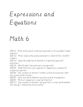 Math 6 - Expressions and Equations/Inequalities Review Guide