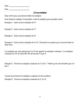 Math 6 French 2.3