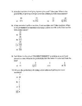 Math 6 Probability Final Formative and Study Guide