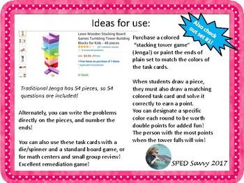 Math 6 SOL Review Jenga Math Game Task Card Remediation Part 2 Fun Middle School