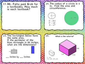 Math 6 SOL Puzzle Game Review Part 2 Middle School fun! Task Cards