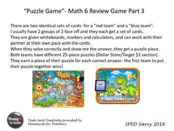 Math 6 SOL Remediation Puzzle Game PART 3 Review Middle Sc