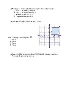 Math 6 The Coordinate System Final Formative VA SOL 6.11, 6.12