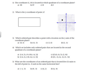 Math 6 The Coordinate System Final Formative and Study Guide VA SOL 6.11, 6.12