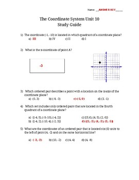 Math 6 The Coordinate System Study Guide VA SOL 6.11, 6.12