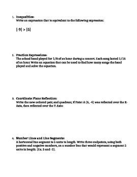 Math 6 Unit 1 TicTacToe Learning Menu