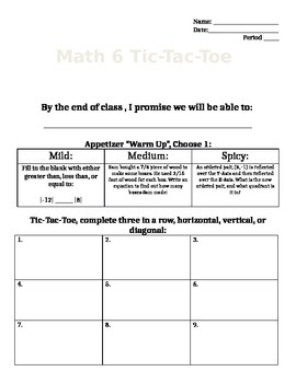 Math 6 Unit 1 TicTacToe Learning Menu
