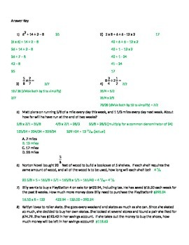 Math 6 VA SOL Review - Computation and Estimation