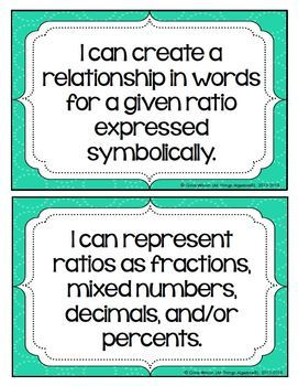 """2016 Math 6 Virginia SOL: """"I Can"""" Statements"""