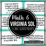 "2016 Math 6 Virginia SOL: ""I Can"" Statements"