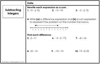Math 6 Warm-Ups