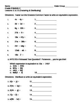 Math 6th Grade Module 4 Lessons 11 & 12 Factor & Distribute