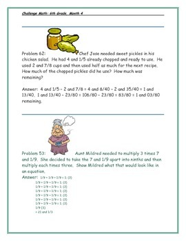 Math-6th Grade-Month 4: Challenge Problem Solving (Questions 61-80)