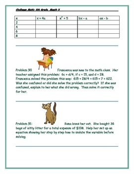Math-6th Grade-Month 5: Challenge Problem Solving (Questions 81-100)
