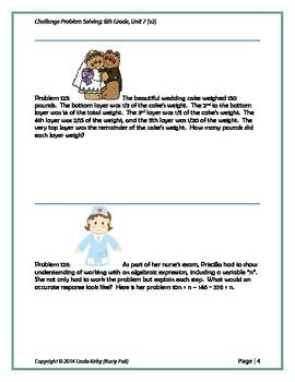 Math-6th Grade-Month 7: Challenge Problem Solving (121-140)