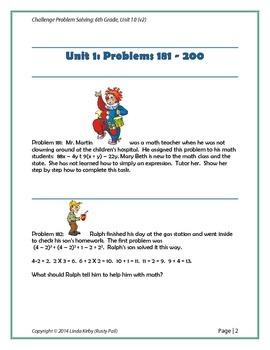 Math-6th Grade-Month10: Challenge Problem Solving (181-200)
