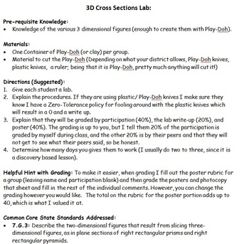 Math 7 3D- Cross Sections Discovery/ Investigative Lab