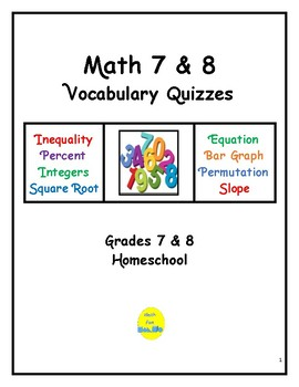 Math 7 & 8 Vocabulary Quizzes