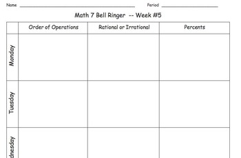 Math 7 Bell Ringers & Correlating Quizzes (Combo Pack!)