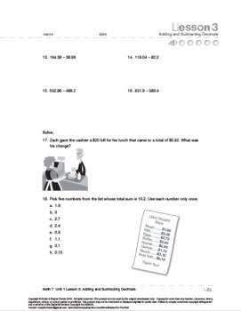 Grade 7: Decimals: L3: Adding and Subtracting Decimals 7.NS.A.1  7.NS.A.3