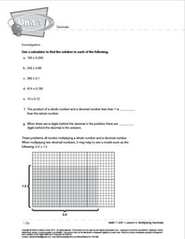Grade 7: Decimals: L4: Multiplying Decimals 7.NS.A.2  7.NS.A.3
