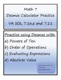 Math 7 Desmos Calculator Virginia VA SOL Practice 7.1 and 7.11
