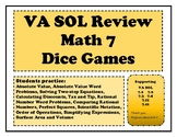 Math 7 End of Year Review Dice Games for VA Virginia SOL Review or Remediation