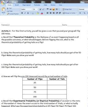Math 7 Experimental vs. Theoretical Probability Lab