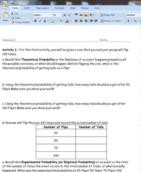 Math 7 Experimental vs. Theoretical Probability Lab