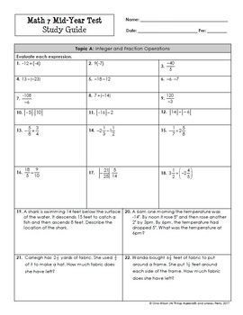 Math 7: Mid-Year (Semester) Test and Study Guide