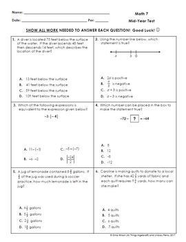 Math 7: First Semester Test (Midterm) and Study Guide