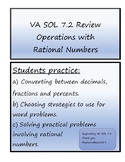 Math 7 Operations with Rational Numbers Review Virginia VA SOL 7.2