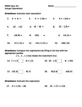 Math 7 Quiz 2