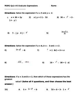 Math 7 Quiz 5