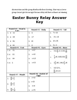 Math 7 Review Relay Race