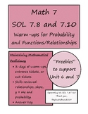Math 7 Review Remediation Warm-up Functions and Probability VA SOL 7.10 and 7.8